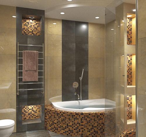 Ванная. Вариант 1. Вид на ванну и короб при душе